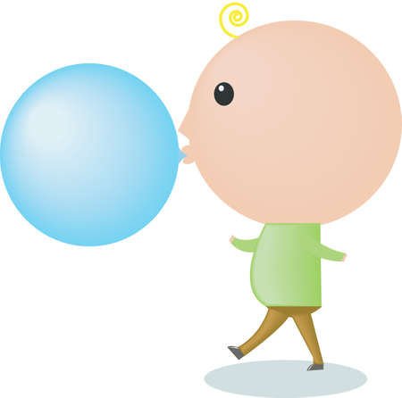An illustration of a big-headed boy is blowing a bubble gum Vector