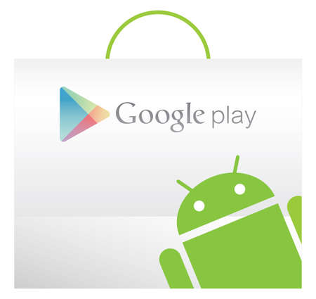 Google play bag with Andriod texture in the front Editorial