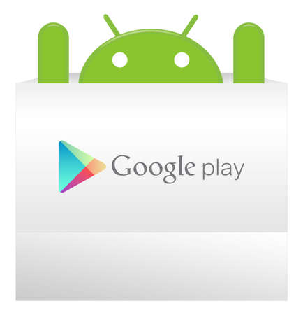 An android appear from Google play bag with a suprise Editorial