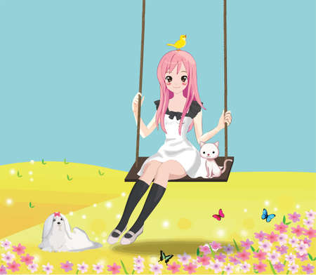 Cute 2d girl on the swing with her cat and other animals