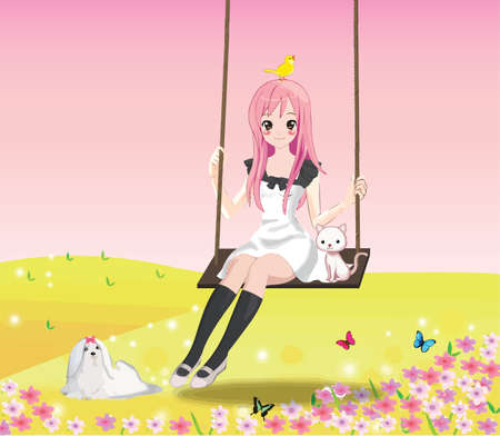 innocent girl: Cute girl on the swing with animals and pink sky