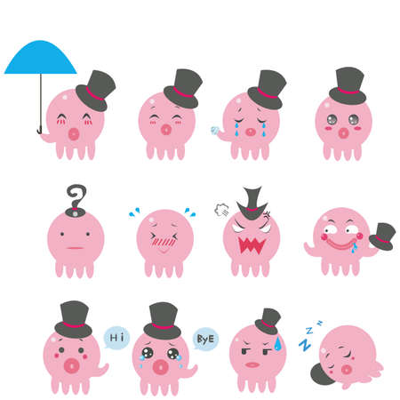 Cute Octopus emotional icons  Stock Vector - 13088224
