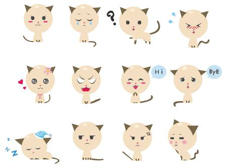 blush: Cute kitten emotional icons  Illustration