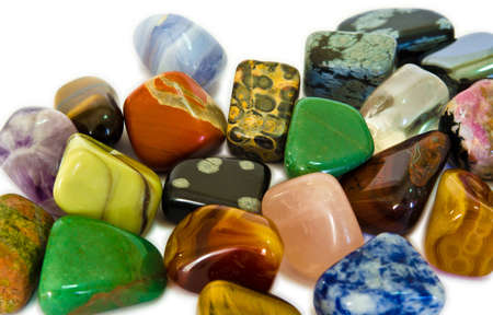 valuable: Various stones, minerals, gems, that contain spiritual force human believes  Stock Photo