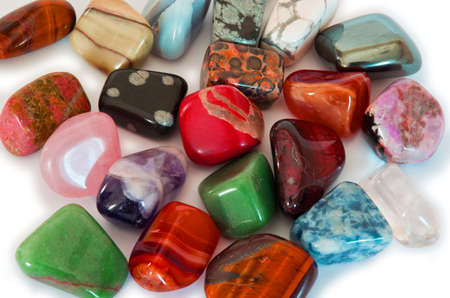 agate: Various stones, minerals, gems, that contain spiritual force human believes  Stock Photo
