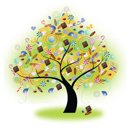 gum tree: Tree of candies hanging on, create by vector