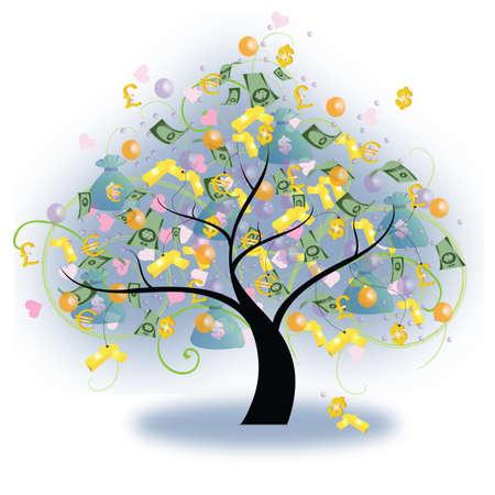 lingotes de oro: Árbol de la riqueza con el dinero y lingotes de oro colgando de, crear por el vector