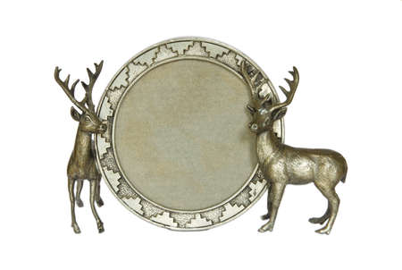 caribou: Reindeer picture frame, made of bronze  Stock Photo