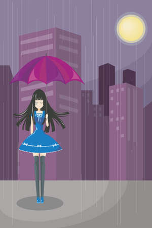 Lonely cute girl walking alone with skyscraper background  The more advance technology, the more empty in mind  Vector