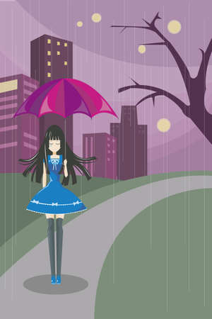 Lonely schattig meisje lopen alleen op de donkere weg met wolkenkrabber achtergrond De meer geavanceerde technologie, des te meer leeg in het achterhoofd
