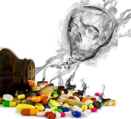 poison bottle: Danger from drugs  isolated   Having to much medicine   in a long period of time might destroy your health
