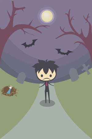 A stylish boy stand alone in the middle of the graveyard Vector