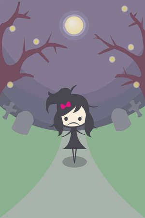 depress: A stylish girl stand alone in the middle of the graveyard