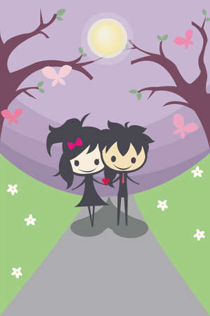 A couple standing together in the middle of a flower field Vector