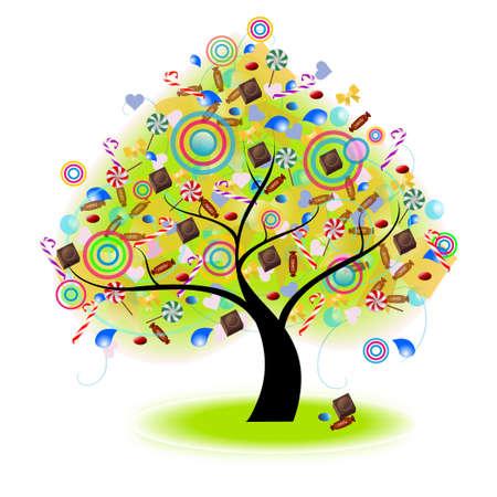 Drzewo Candy (wektor) --- tryb Blend (nie cień, rozmycie gaussa i inne efekt bitmapy)