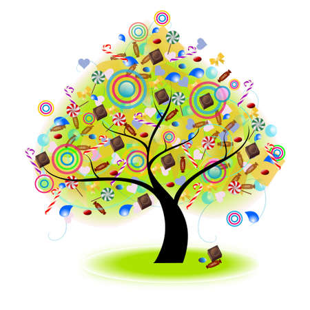 Tree of Candy (vector) --- Blend mode (no drop shadow, gaussian blur, and other bitmap effect) Stock Vector - 13470949