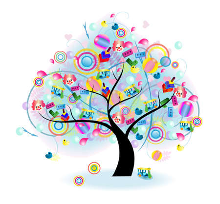 Tree of Toy (vector) --- Blend mode (no drop shadow, gaussian blur, and other bitmap effect) Vector