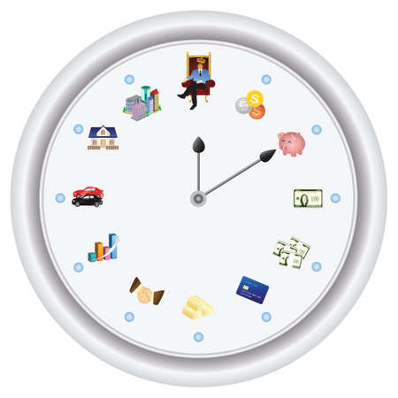 Time is money - vector only, no bitmap effect. The short hand is your goal, the long hand is your current position. Vector