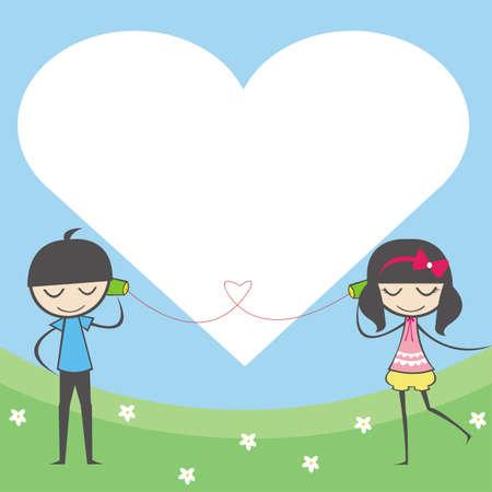 napsat: Láska je tak daleko deník a zápisník obyčejný poznámkový blok pro každého k použití s roztomilý pár a prostoru v srdce pozadí Ilustrace