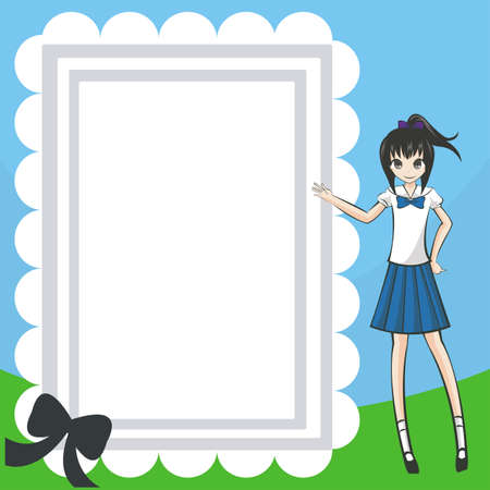 school uniform girl: Naughty Student Diary and notepad  A plain notepad for everyone to use with a cute Thai school-girl on the right