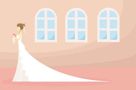 A bride is waiting... or is this woman waiting for the day to be a bride? Create by vector Vector