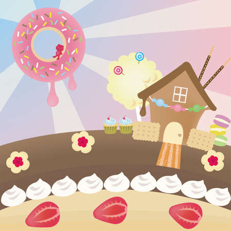Candy landscape, create by vector Vector