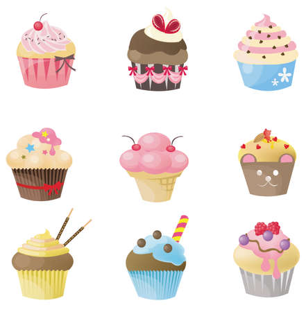 cupcakes isolated: Cute cupcake with 9 different look, design by vector