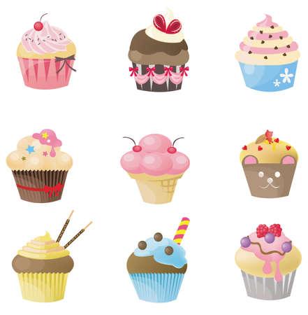 SÅ'odkie cupcake z 9 inny wyglÄ…d, projektowania przez wektor
