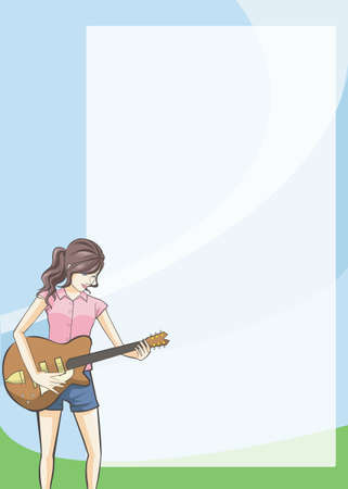 writing instrument: A plain notepad for everyone to use with a girl playing a guitar on the right.