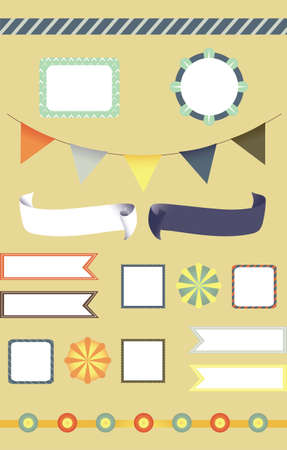 Fancy circus label and decoration set Vector