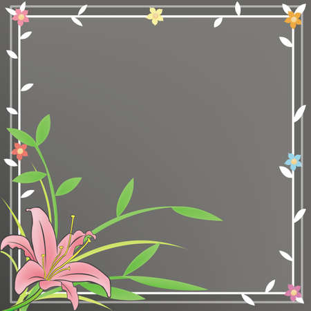pink lily: A plain notepad for everyone to use with a pink Lily and black flora background. Illustration