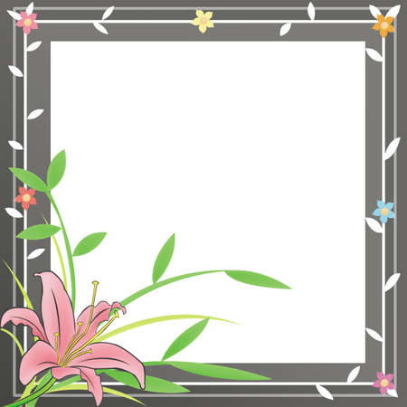 A plain notepad for everyone to use with a pink Lily and black flora frame. Vector