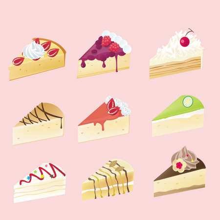 Fancy cheesecake  with 9 different look Vector