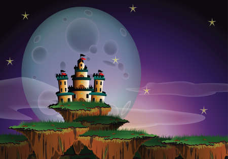 fairytale background: Fantasy landscape of a big castle on floating island and a gigantic moon