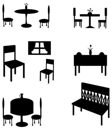 Sets van silhouet meubelen