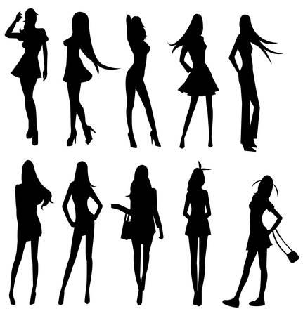 jeune fille adolescente nue: Ensembles de gang de filles sexy, en caract�ristique diverses Illustration