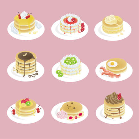 Fancy pancakes  with 9 different look, design by vector Vector