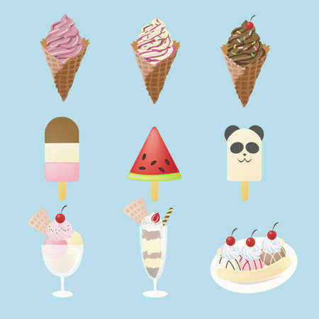 frozen food: Fancy ice creams  with 9 different look, design by vector