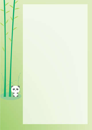 A Panda notepad with green background and empty space Vector