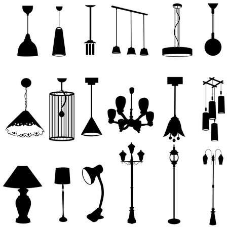 Sets van silhouette lampen Vector Illustratie