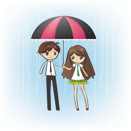 Teenage couple under an umbrella, in the rain Vector