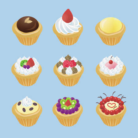 Cute tarts with 9 different look Vector