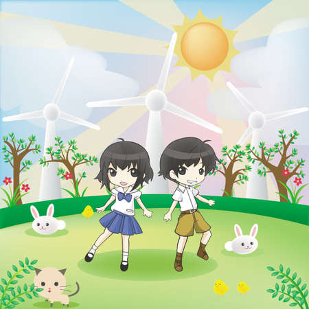 2d wallpaper: Children and animals in the world of green energy, create by vector.  Illustration