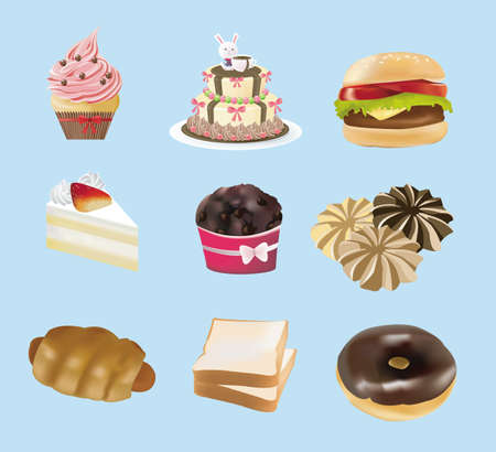 Sweets, bakery,  and fast food collection Vector