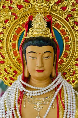quan yin: The face of Quan Yin Bodhisattva statue in Thailand
