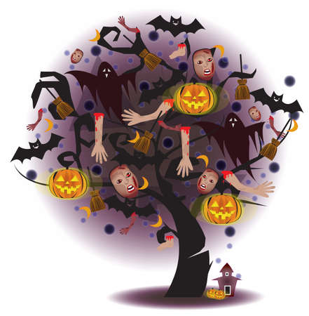 Tree of horror, for Halloween festival or use with any other horror stuff. Create by vector  Vector