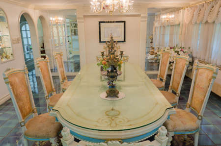 shinny: Head of the table in the grand dinning room (Final) Stock Photo