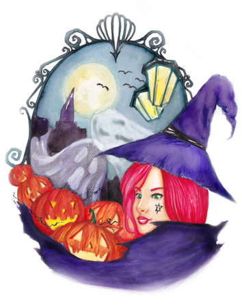 An illustration of an Halloween witch, done by watercolor Stock Illustration - 15171052