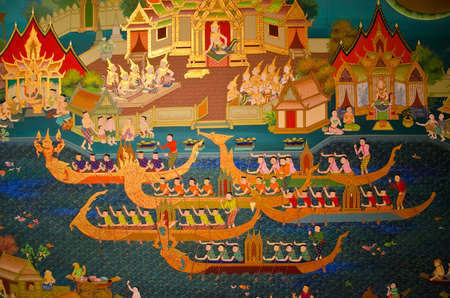 Mural painting of Thai old lifestyle 300 years ago  There are regatta racing in front of the king