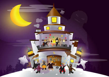 Halloween Festival  Ghost and human having a great party Vector